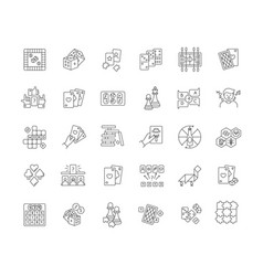 Board games pixel perfect linear icons set vector
