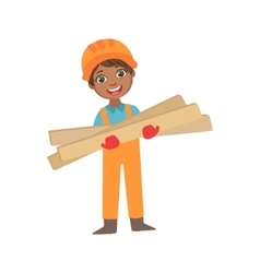 Boy In Working Gloves Holdig Boards Of Wood Kid vector