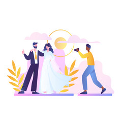 bride and groom pose on wedding ceremony for shoot vector image
