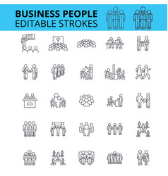 Business people ouline icons editable vector
