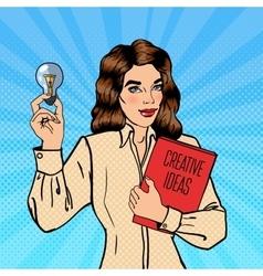Business Woman Holds a Light Bulb Pop Art vector image