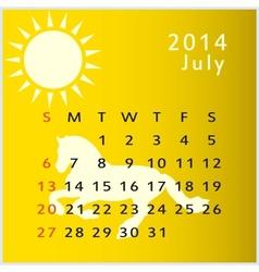 calendar 2014 july vector image
