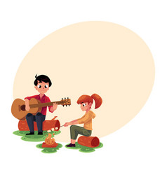 camping kids - playing guitar and frying vector image