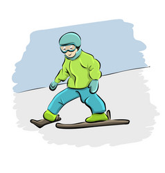 cartoon kid skiing downhill vector image