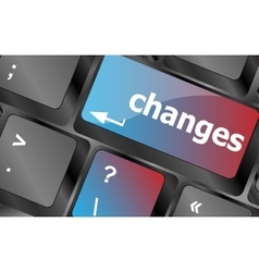 changes ahead concept with key on keyboard vector image