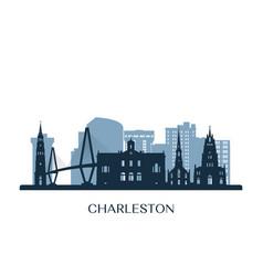 charleston skyline monochrome silhouette vector image