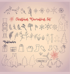Christmas decoration set with nutcracker vector