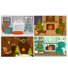 Christmas holidays decorated interior of houses vector