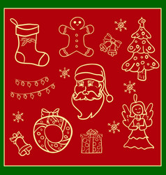 christmas icons hand drawn simple set vector image