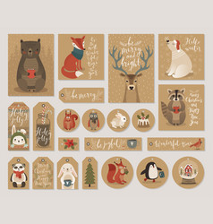 christmas kraft paper cards and gift tags set vector image