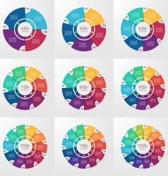 Circle infographic set 4 12 options vector