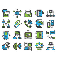 communication sotial thin outline icons media vector image