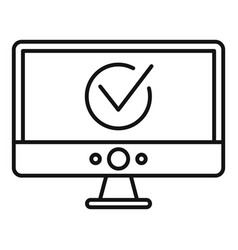Computer monitor online vote icon outline style vector