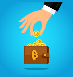 concept crypto currency hand with a bitcoin vector image