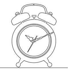 continuous line alarm clock drawing vector image