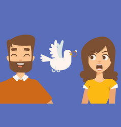 couple relationship funny cartoon characters vector image