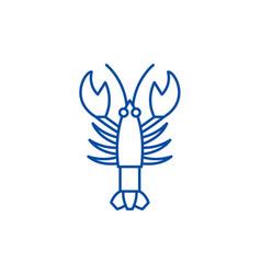 crayfish line icon concept crayfish flat vector image