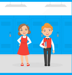 cute boy and girl elementary school students vector image