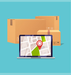 Delivery tracking on a computer pile of stacked vector