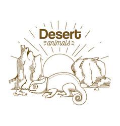 Desert animals hand drawing cartoon vector