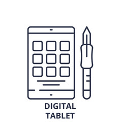 digital tablet line icon concept digital tablet vector image