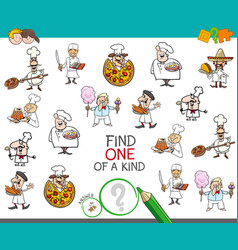 Find one of a kind game with chef characters vector