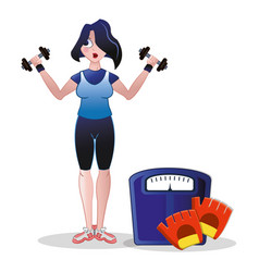 fitness woman weight scale barbell and gloves vector image