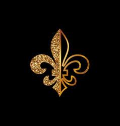 fleur de lis symbols golden glittering vector image