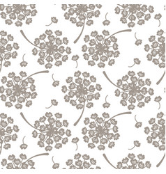 Flying dandelion grey seamless pattern vector