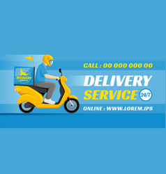 food or parcel delivery scooter vector image