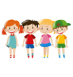 four kids with happy face vector image