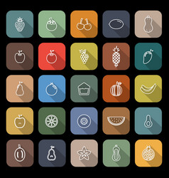 fruit line flat icons with long shadow vector image
