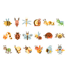 Funky bugs and insects set small animals vector