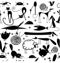 funny animals seamless pattern for yor design vector image