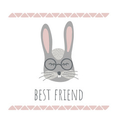 funny bunny retro style best friend phrase vector image