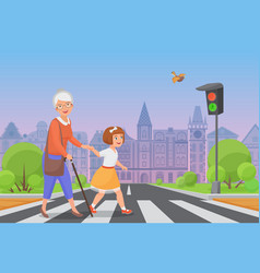 Girl helps old lady to cross the road vector
