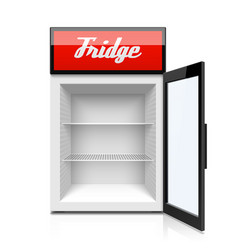 Glass door mini refrigerator fridge vector