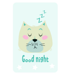 good night card with a cute sleepy cat vector image