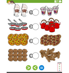 Greater less or equal task with food objects vector