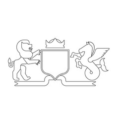 Heraldic shield lion and hippocampus and knight vector