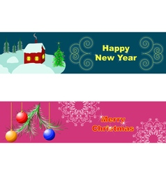 horizontal merry christmas card vector image