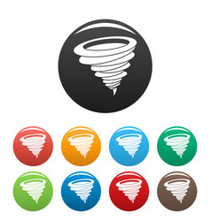 hurricane icons set color vector image
