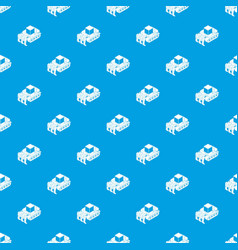 industrial bulldozer pattern seamless blue vector image