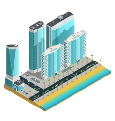 Isometric Modern City Composition vector