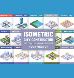 isometric set blocks vector image