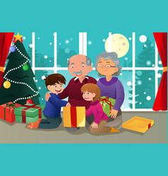 Kids opening christmas present from grandparents vector