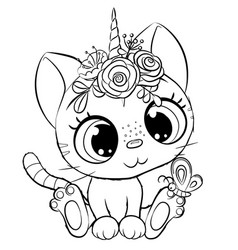 kitty unicorn outlined for coloring book isolated vector image