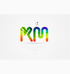 km k m rainbow colored alphabet letter logo vector image