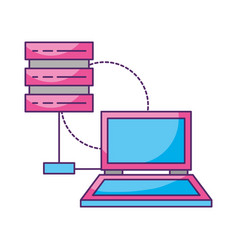 laptop database server connection storage vector image
