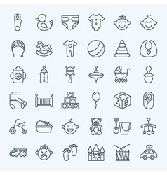 line bachild and toys icons set vector image